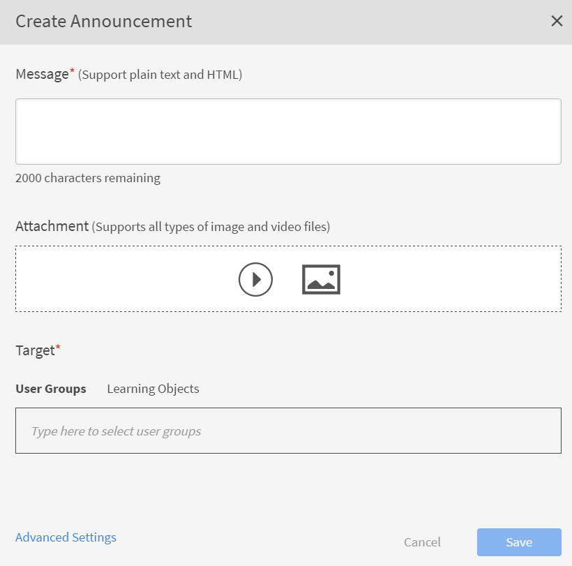 Create announcements in Captivate Prime