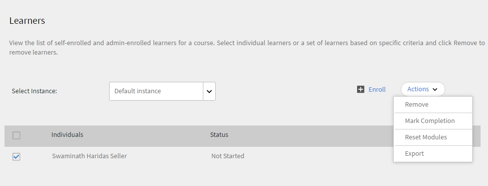 Manage learners for a course