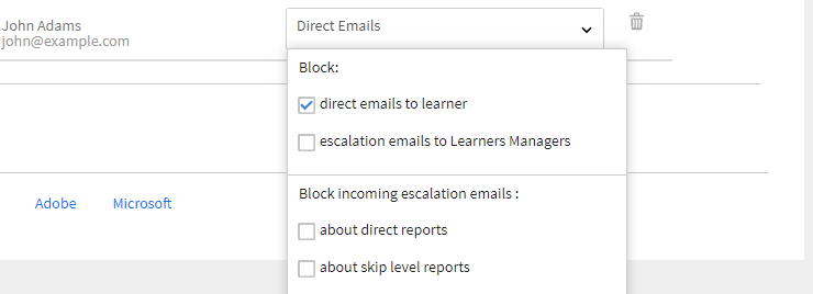 Options for blocked emails
