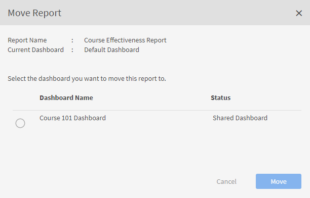 move a report to a dashboard