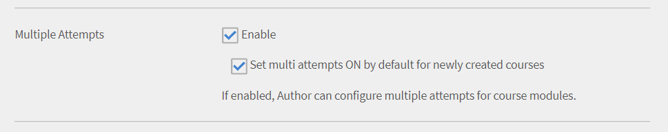 multi attempts configuration by admin