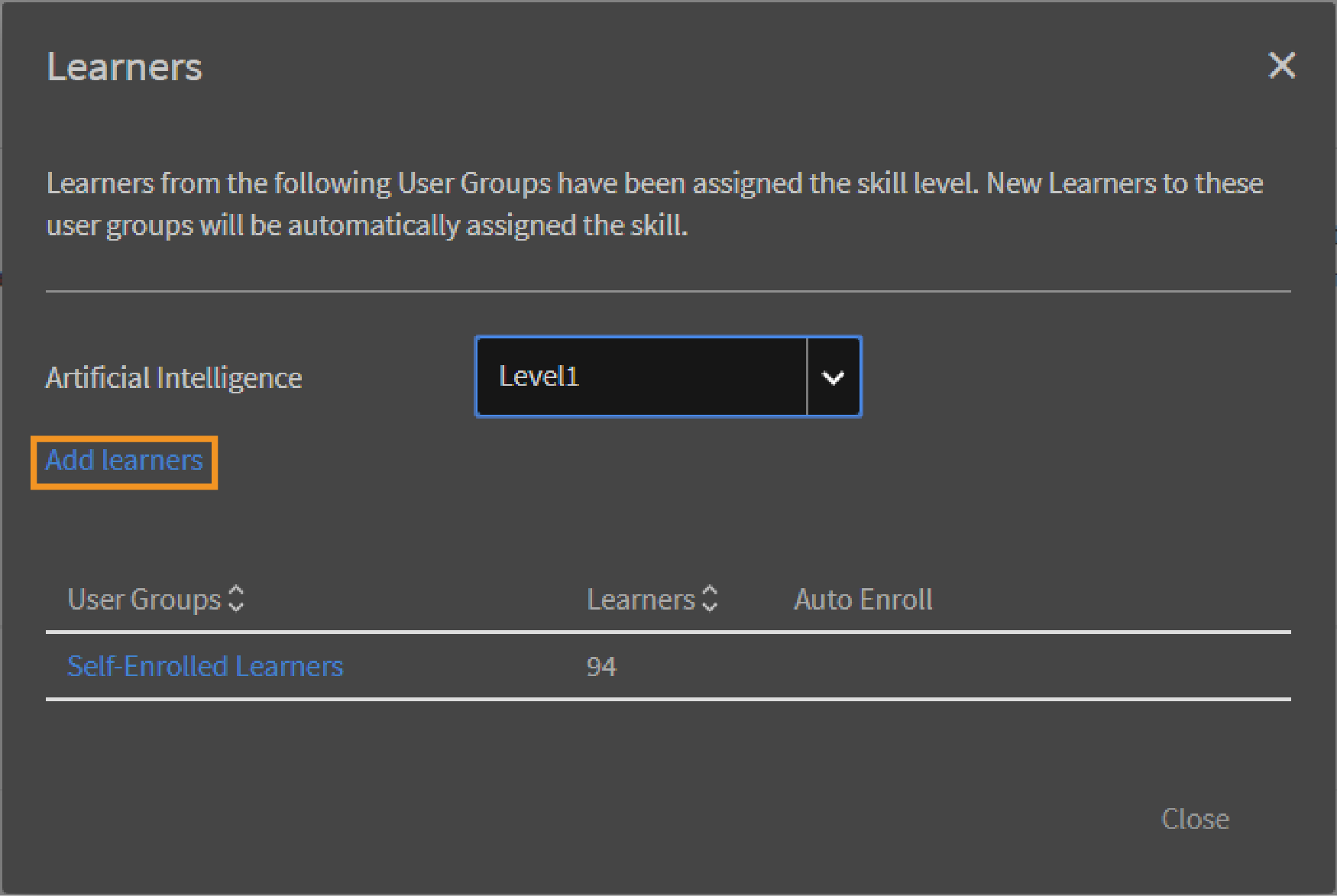 Add learners