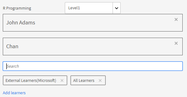 Search and add learners