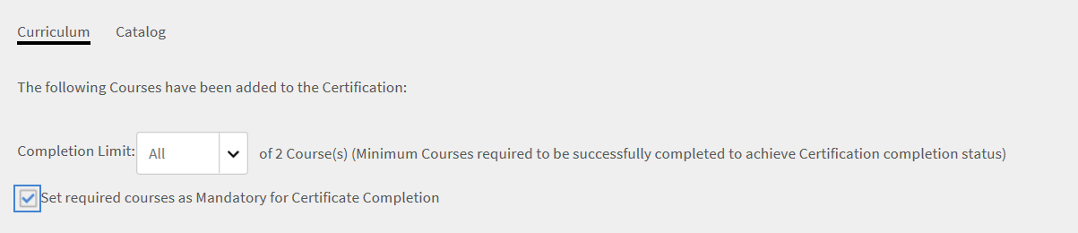 Set required courses as mandatory