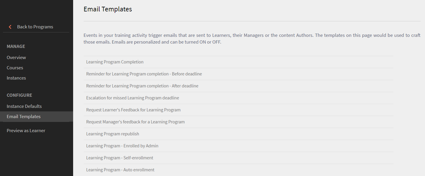 Email templates for Learning Programs in Captivate Prime