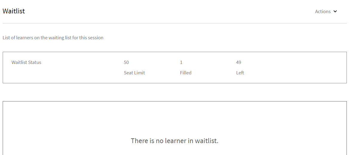 View the number of seats filled and waitlist for your session