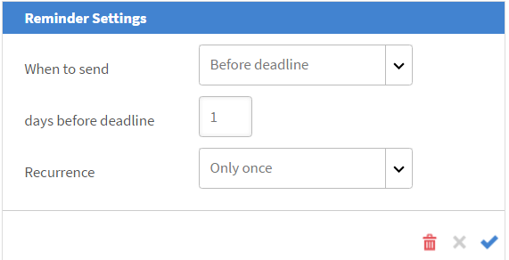 Configure the reminder settings for your session