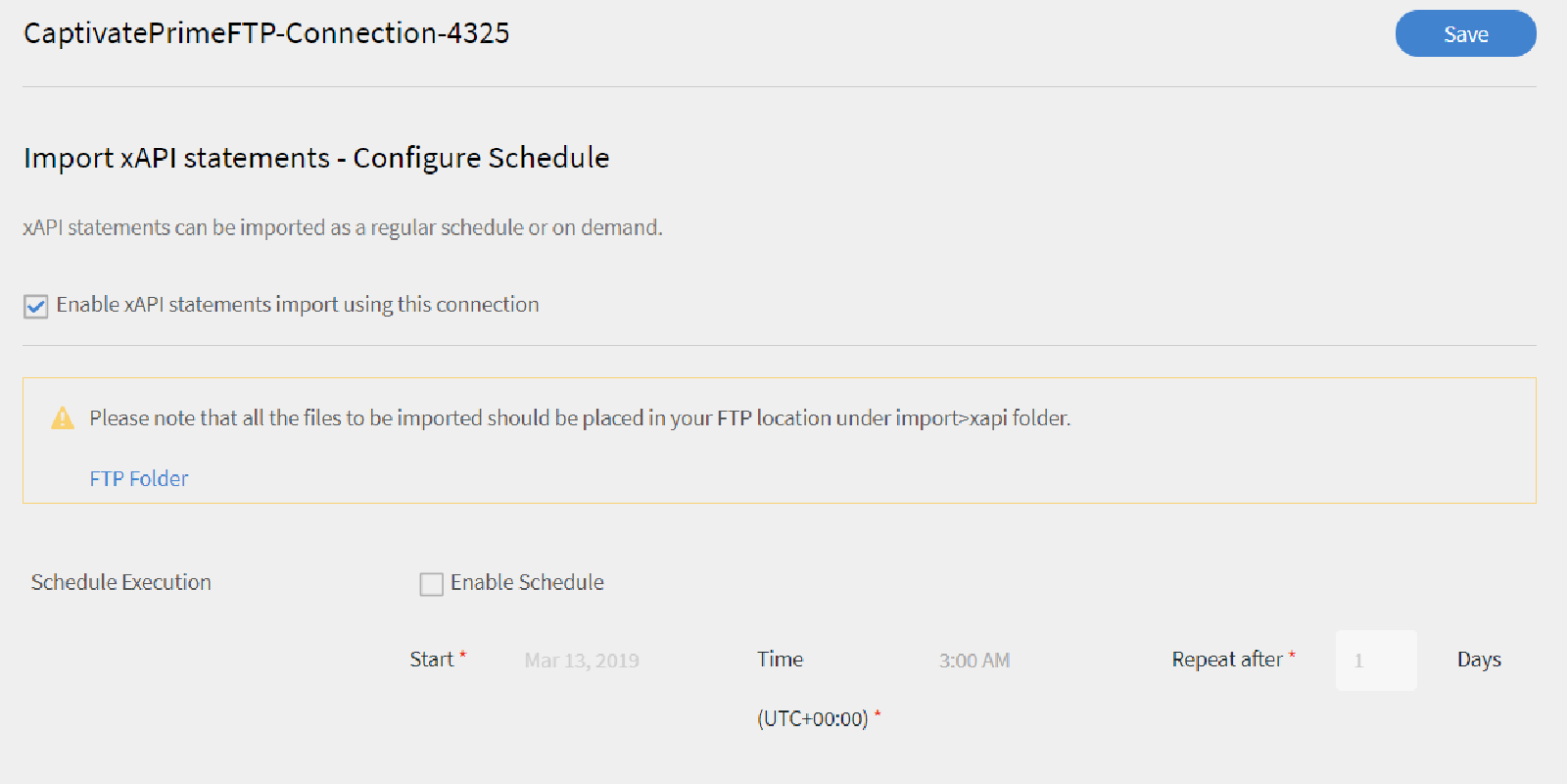 Import xAPI statements - Configure Schedule