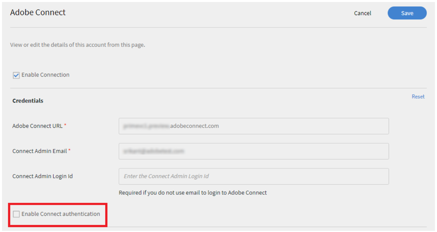 Adobe Connect authentication