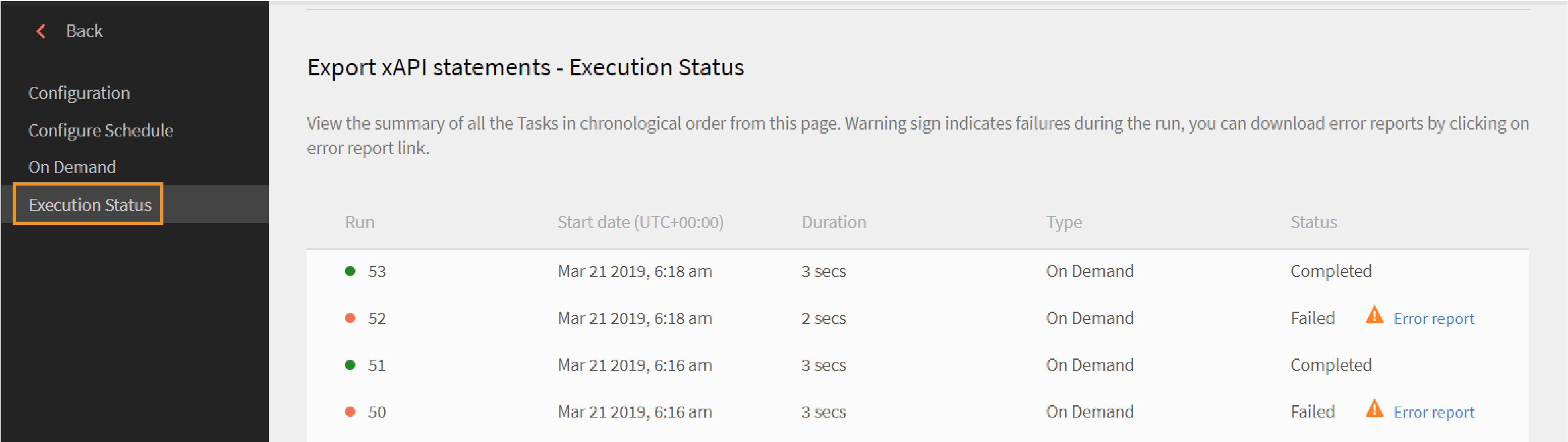 xAPI Export Execution Status