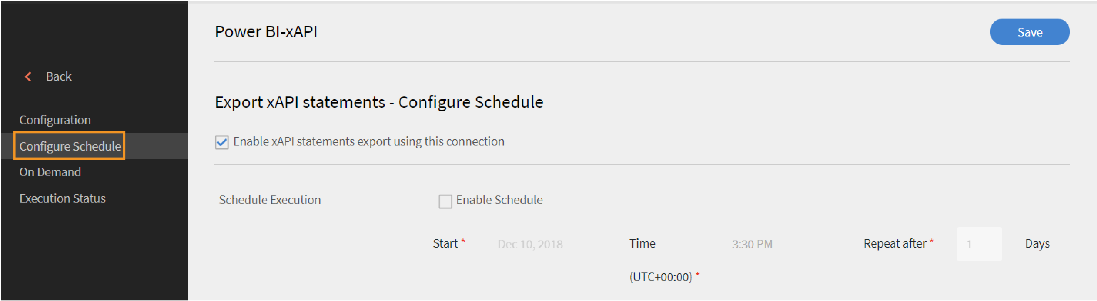 xAPI Export Configure Schedule
