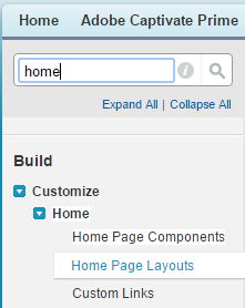 Home page layouts option