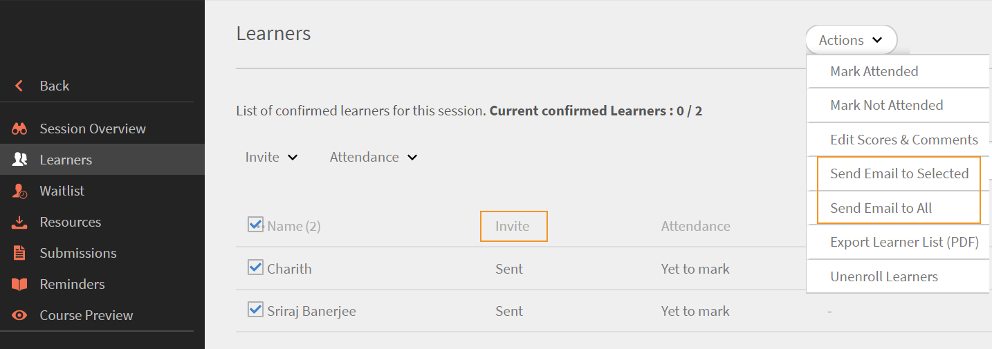 Send email to selected or all learners