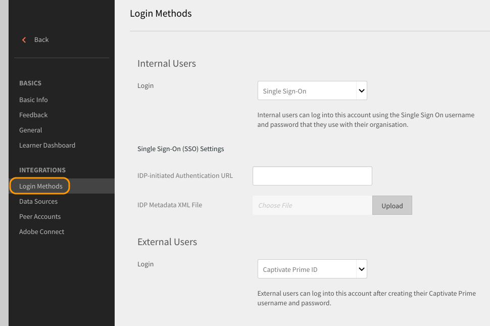 Login Methods option