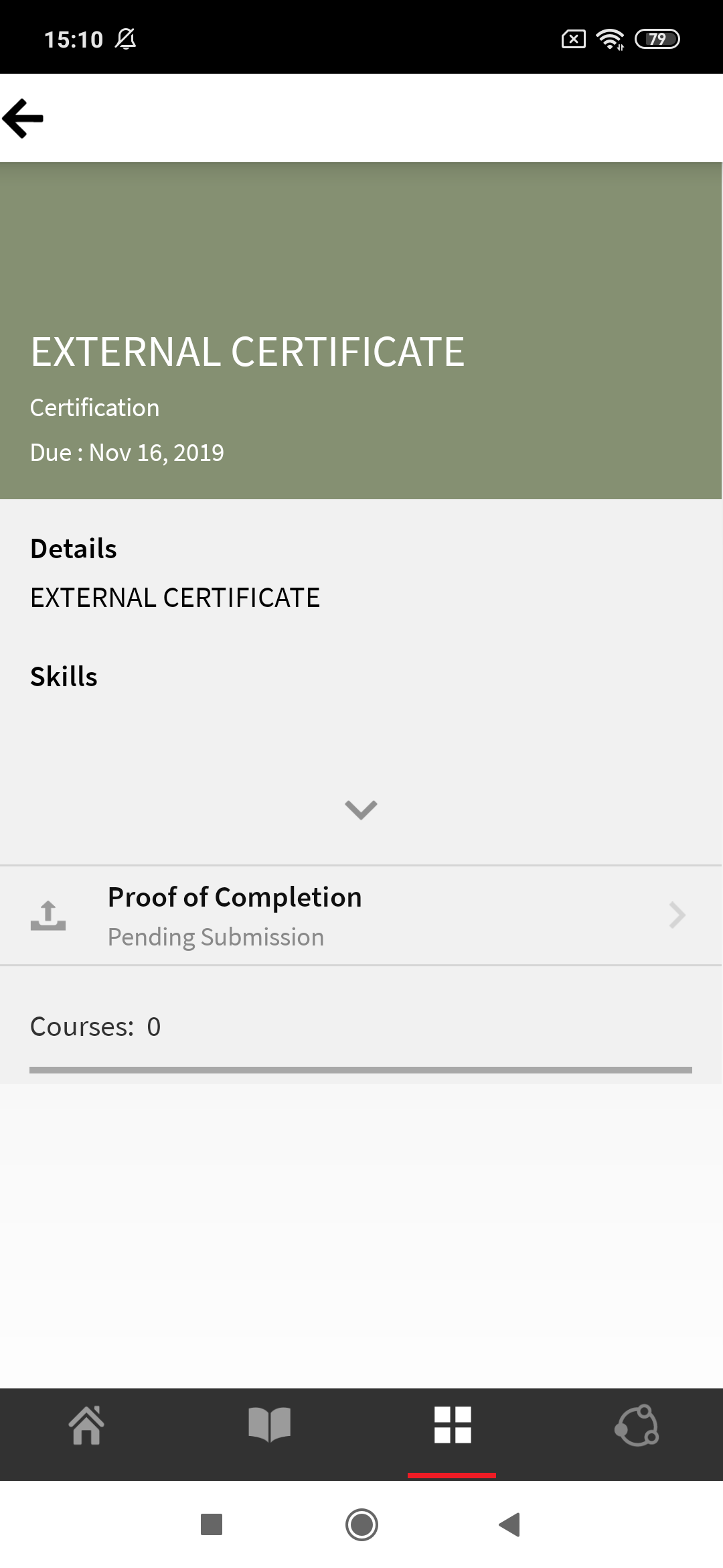 Submit proof of completion