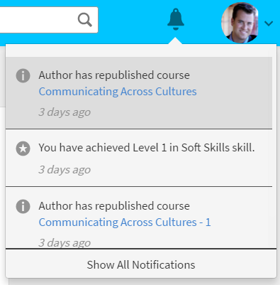 Sample notification for learners in Captivate Prime