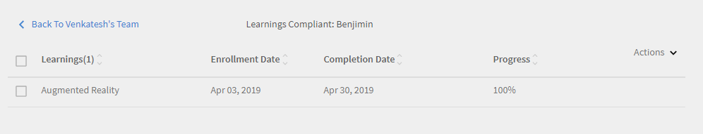 Compliance Status: learning details