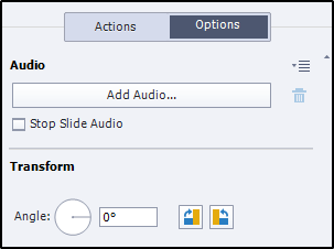 Audio option in Property Inspector