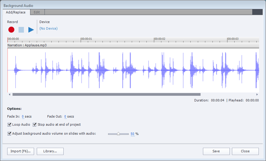 Background audio dialog