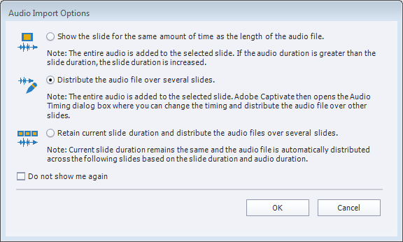 Audio Import Options dialog