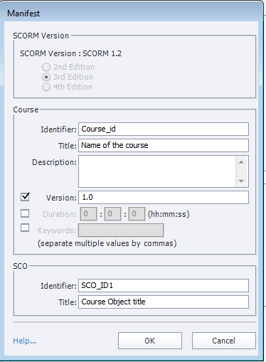 Adobe Captivate LMS Manifest dialog box with SCORM version
