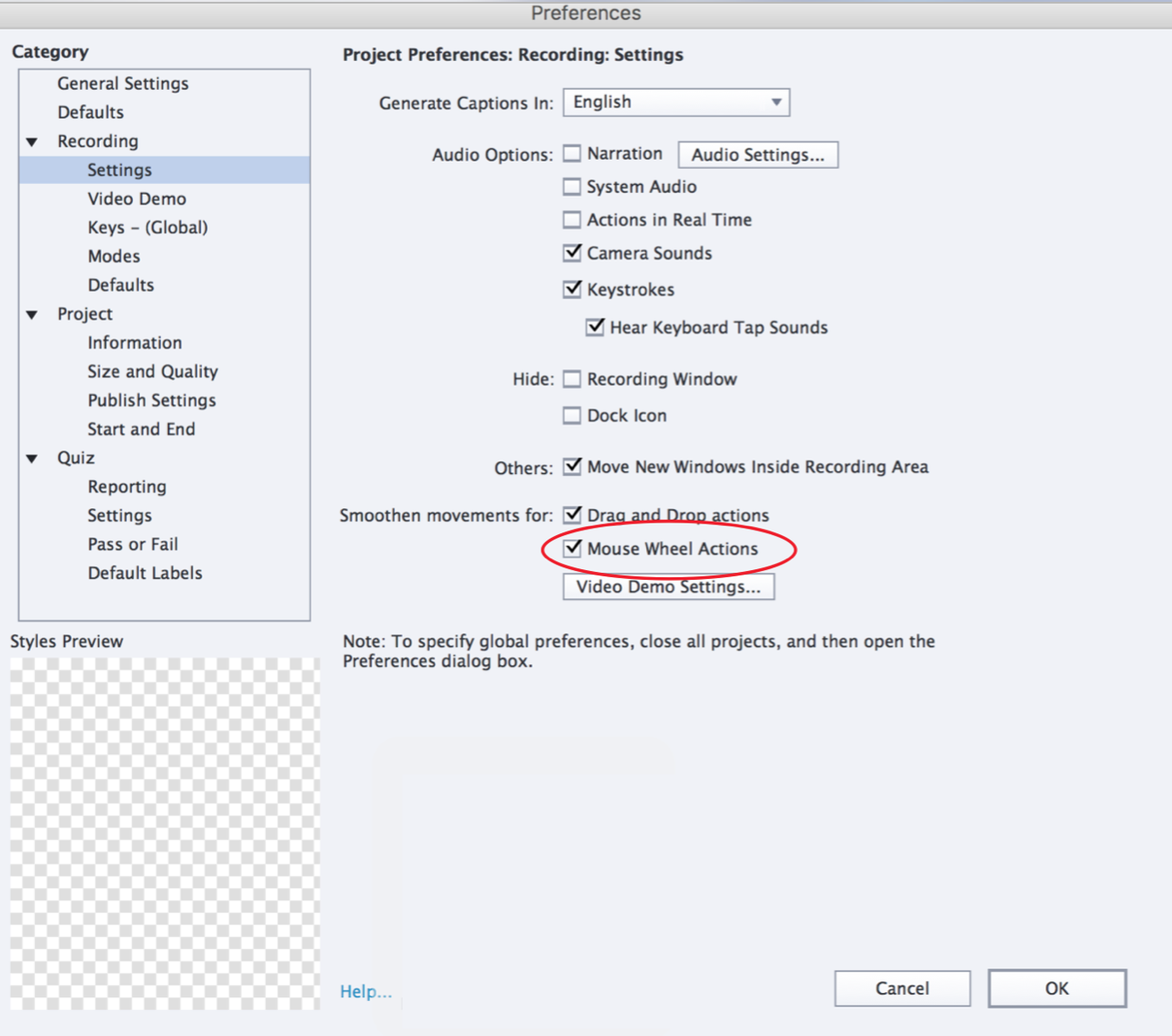 Change mouse properties in Adobe Captivate