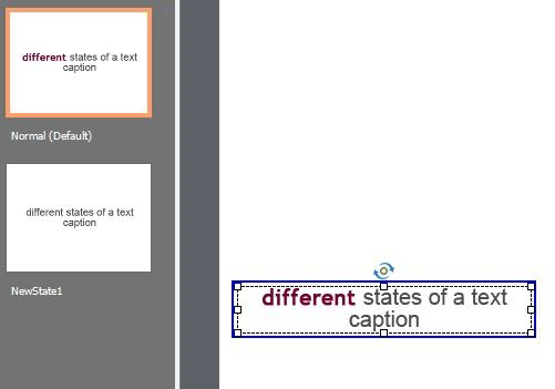 Example: The different formatting of the text caption does not flow to the new state
