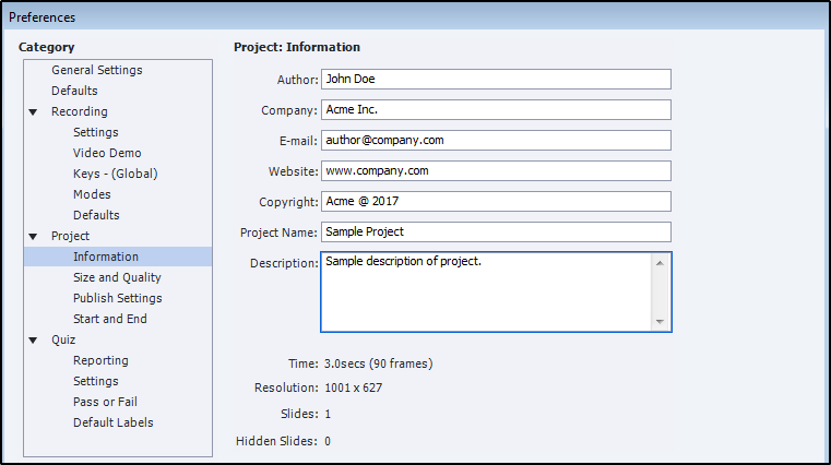 Project information dialog