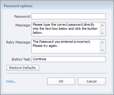 Password options dialog
