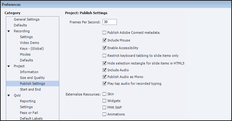Publish settings for blank project