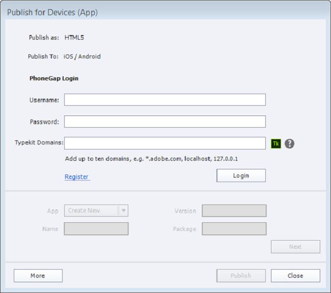 Publish for Devices (Apps) dialog