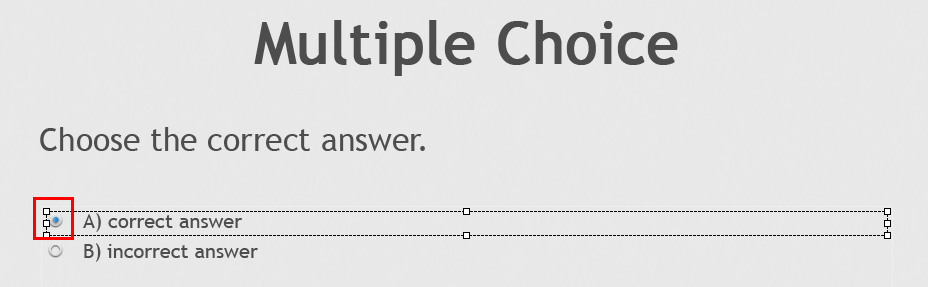 Correct answer option