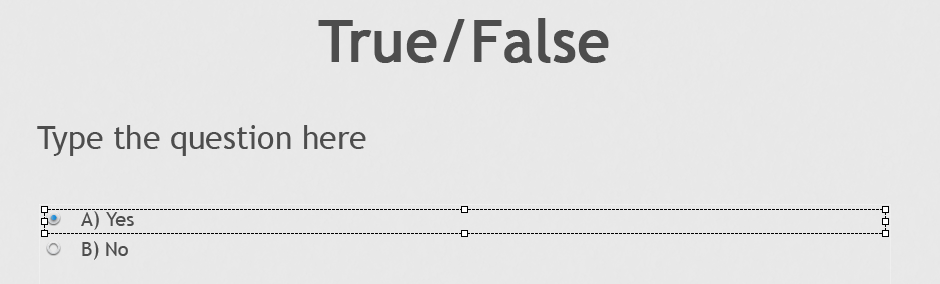 True False modify answer