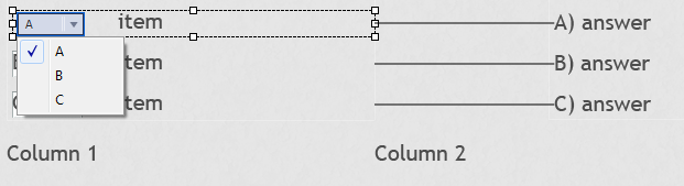 Matching question dropdown