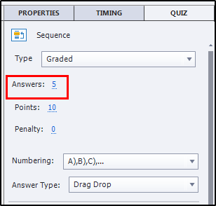 Sequence answers options to add