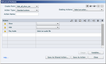 The Advanced Actions dialog box