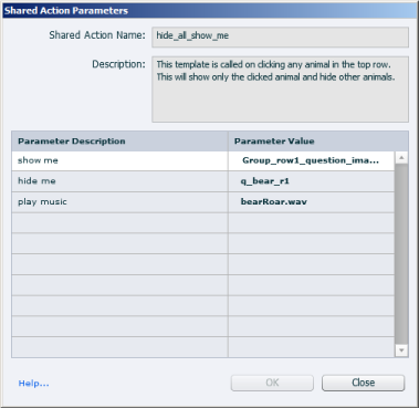 Parameter descriptions and values of the shared action