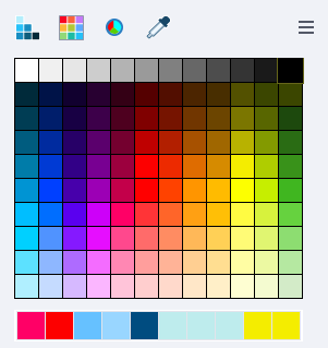 Slide text color palette