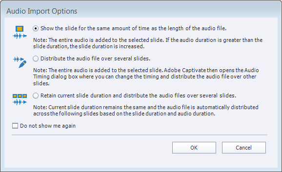Audio import options