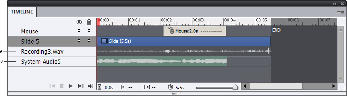 Timeline showing narration and system audio