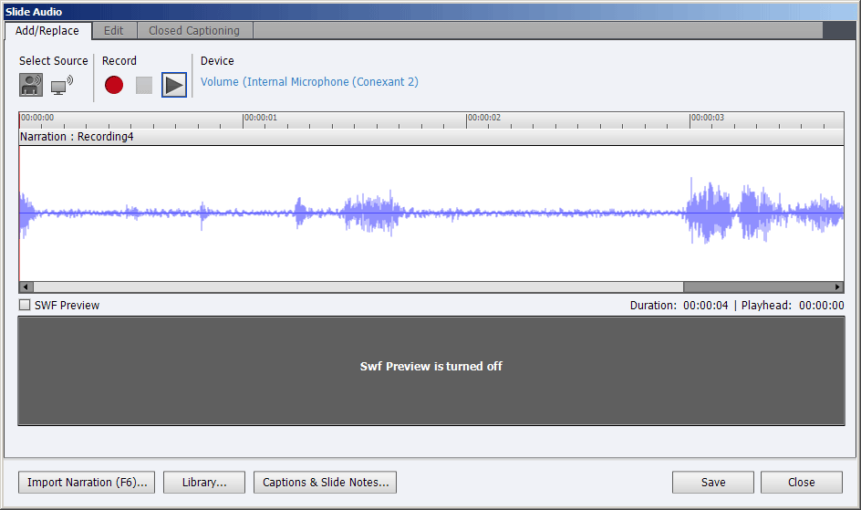 Slide Audio dialog box of a slide with only narration audio