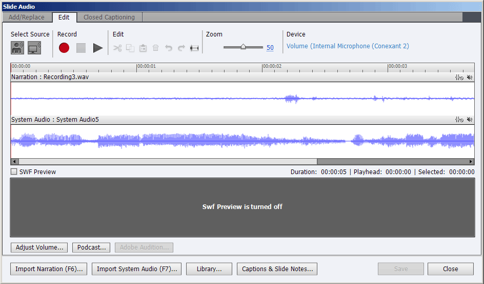Slide Audio dialog box with both narration and system audio
