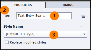 Text entry box name properties