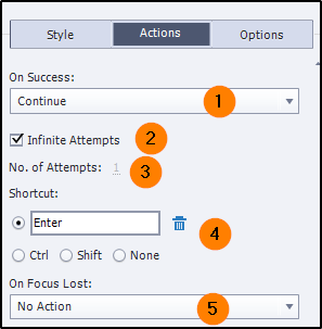 Properties in Actions tab
