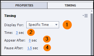 Timing inspector properties