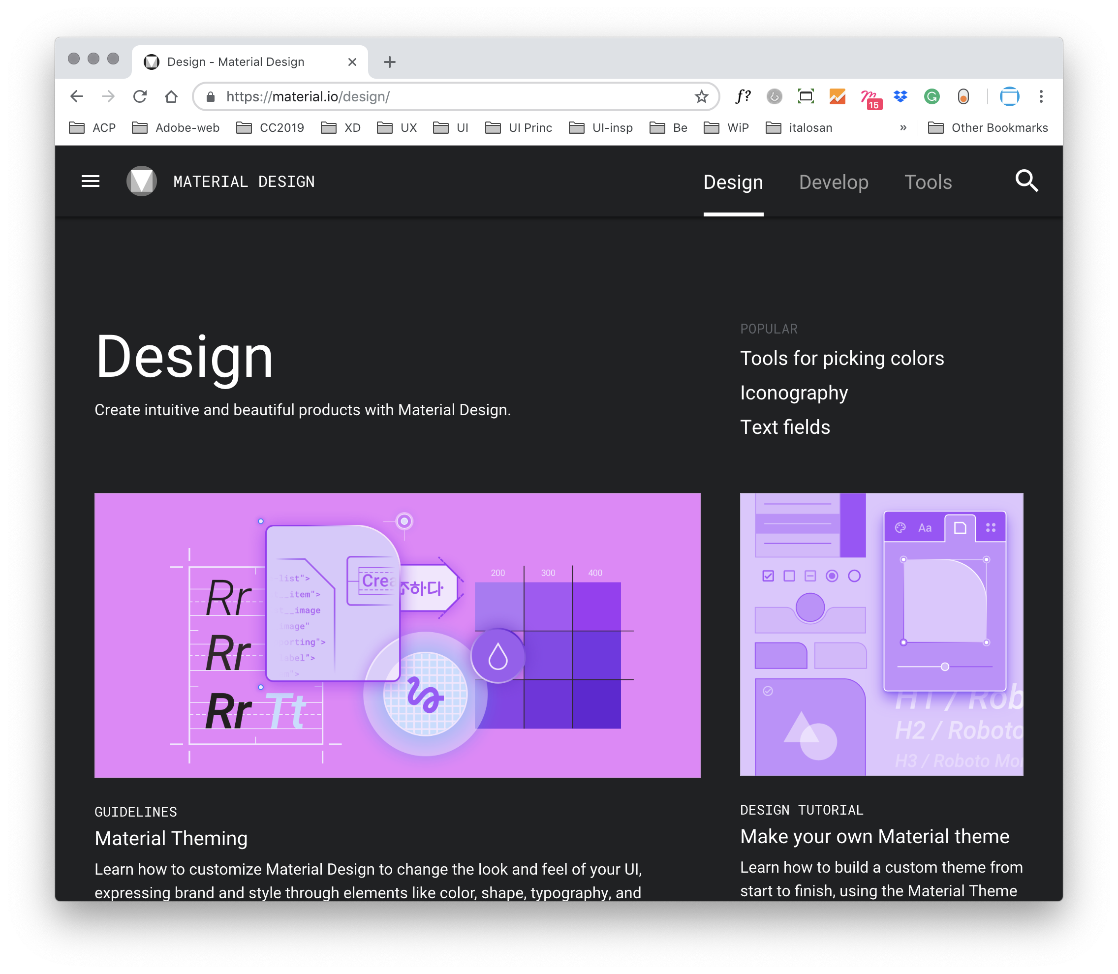 The Google Material section dedicated to the design