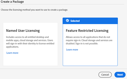 Feature Restricted Licensing option