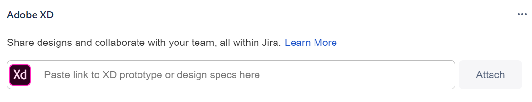 Adobe XD section in a Jira issue
