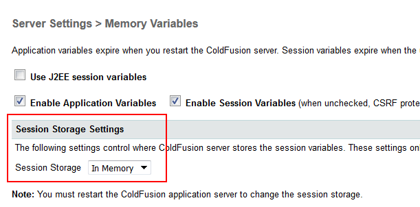 Session Storage Settings