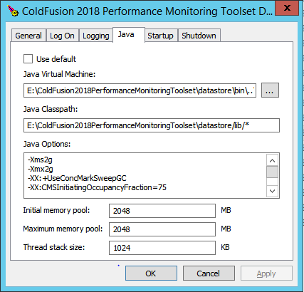 ColdFusion Performance Monitoring Toolset Datastore configuration wizard